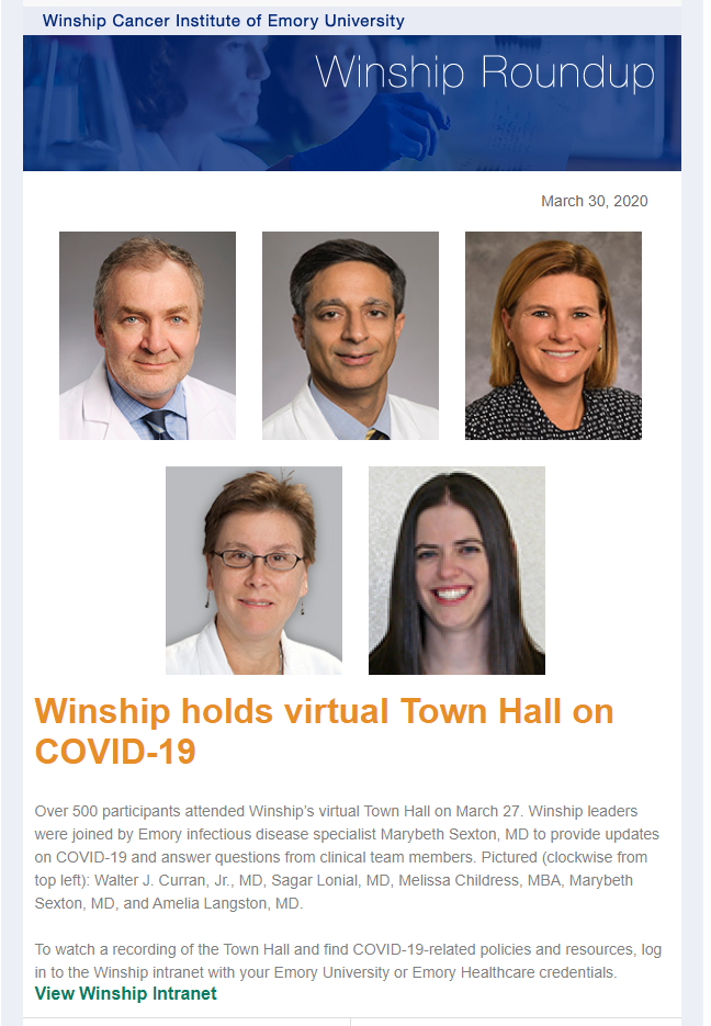 Winship Roundup | March 30, 2020